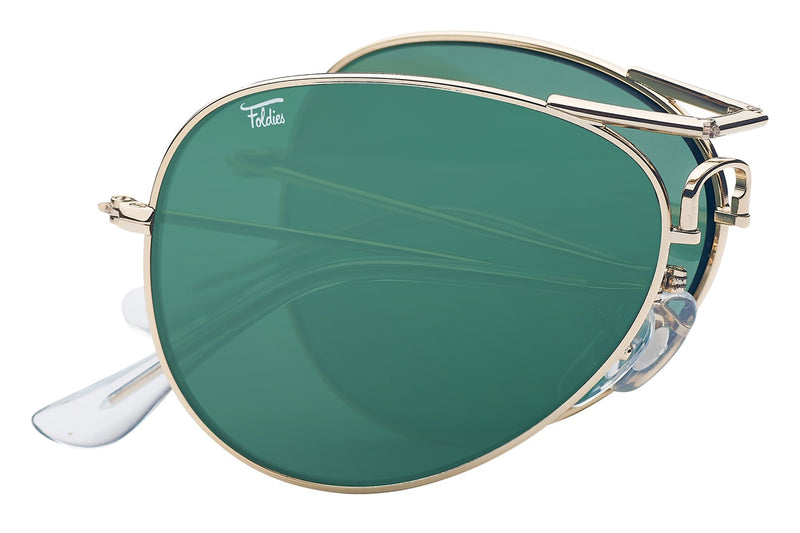 Foldies Gold with Polarized Classic Green Lens Folding Aviators | Gold / Classic Green