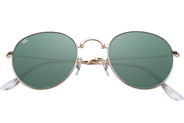 Foldies Gold with Polarized Classic Green Lens Folding Rounds | Gold / Classic Green Lens