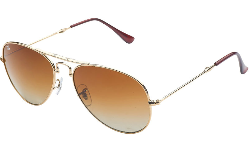 Foldies Gold with Polarized Gradient Brown Lens Folding Aviators | Gold / Gradient Brown