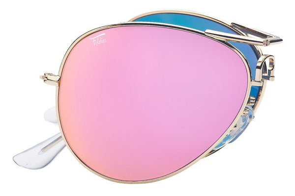 Foldies Gold with Polarized Pink Mirror Lens Folding Aviators | Gold / Pink Mirror