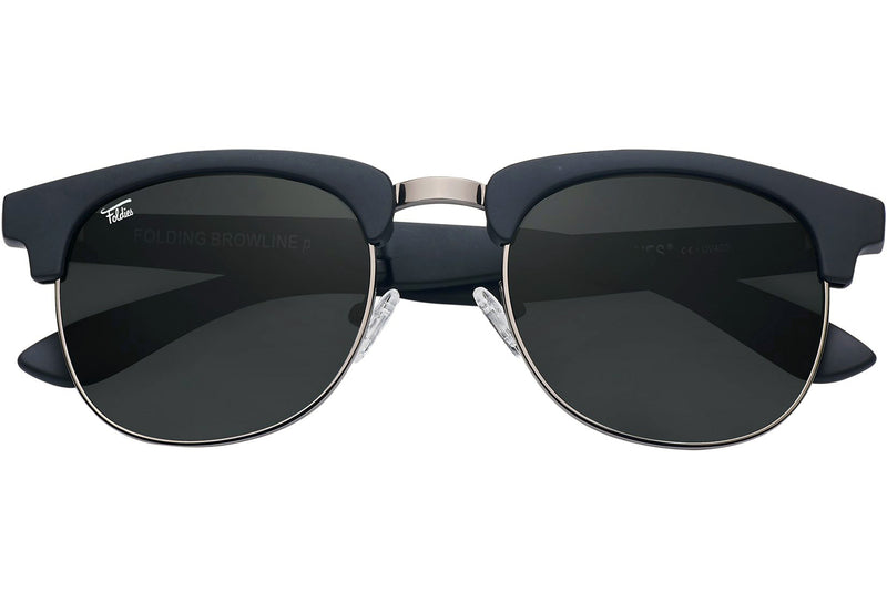 Foldies Matte Black with Polarized Black Lens Folding Browlines | Matte Black / Black Lens