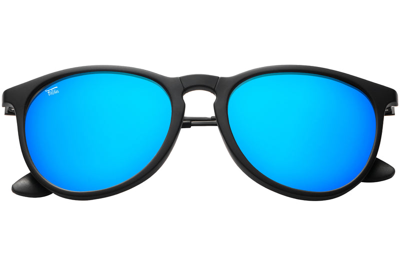 Foldies Folding Milanos | Matte Black / Mirror Blue