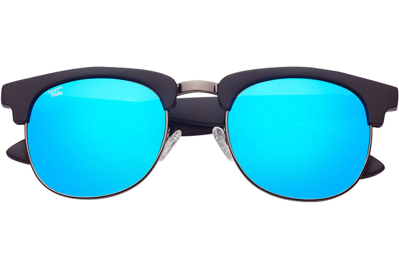Foldies Matte Black with Polarized Blue Mirror Lens Folding Browlines | Matte Black / Blue Mirror Lens