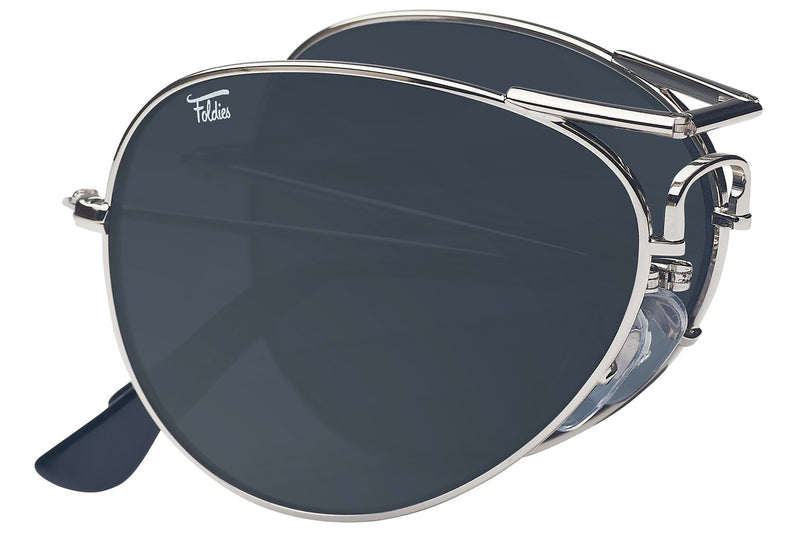 Foldies Silver with Polarized Black Lens Folding Aviators | Silver / Black