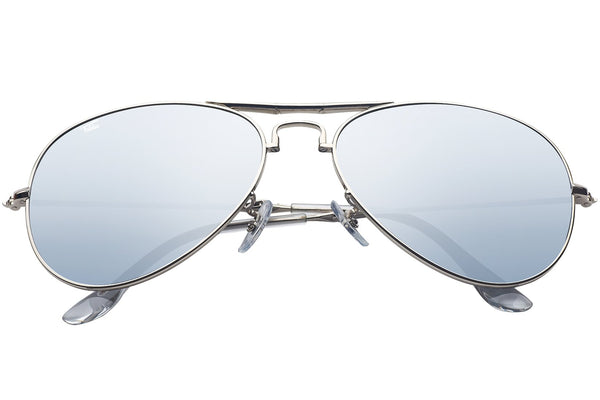 Foldies Silver with Polarized Silver Mirror Lens Folding Aviators | Silver / Silver Mirror