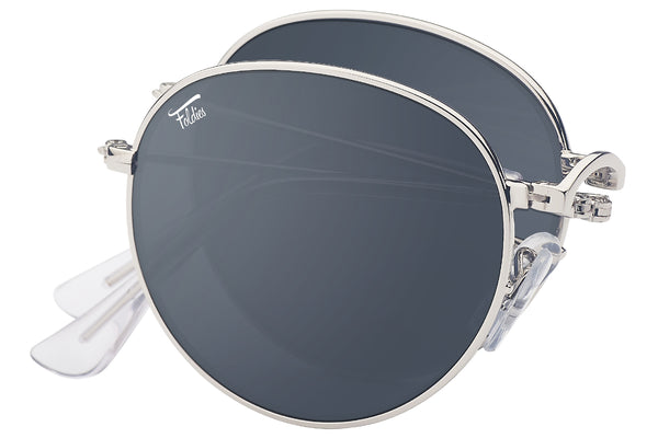 Foldies Silver with Polarized Black Lens Folding Rounds | Silver / Black Lens