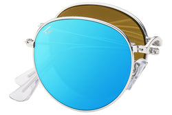 Foldies Silver with Polarized Blue Mirror Lens Folding Rounds | Silver / Blue Mirror Lens
