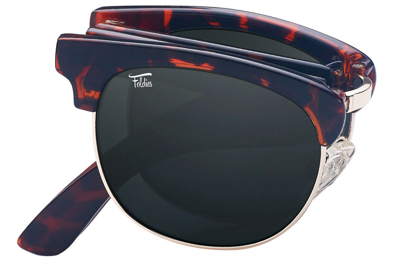 Foldies Tortoise Shell with Polarized Black Lens Folding Browlines | Tortoise Shell / Black Lens