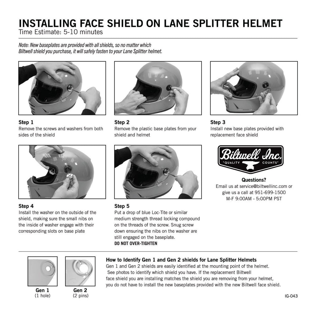 Biltwell Lane Splitter Gen 2 Anti-Fog Shield - Smoke