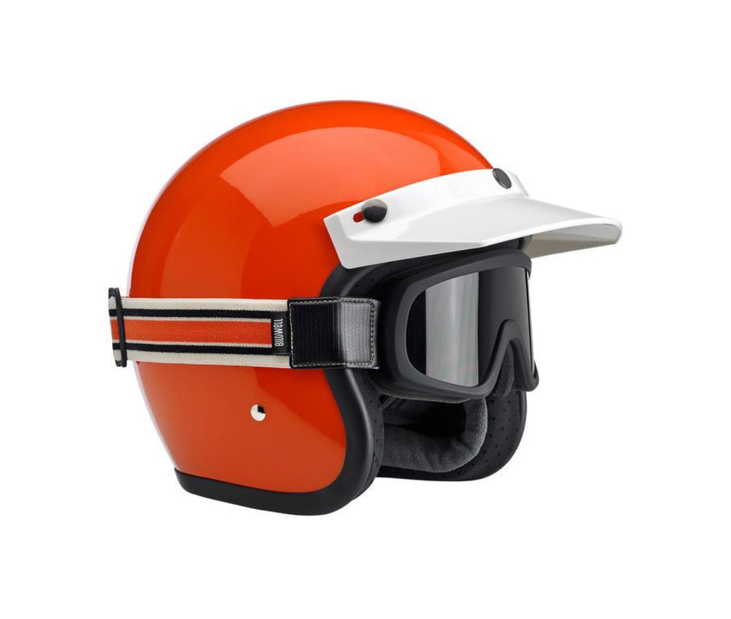 Biltwell Overland 2.0 Racer Goggle - Black with Cream / Orange