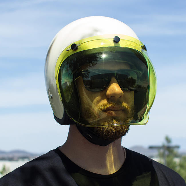 Biltwell Bubble Shield - Yellow - Ton-Up New Zealand - Motorcycle Helmets, Clothing & Accessories