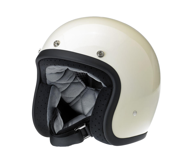 Biltwell Bonanza Helmet - Gloss Vintage White - Ton-Up New Zealand - Motorcycle Helmets, Clothing & Accessories