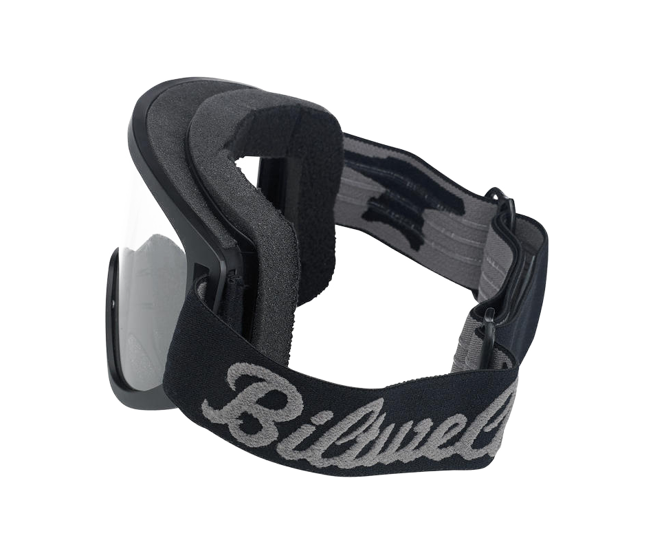 Biltwell Moto 2.0 Goggle - Script Black - Ton-Up New Zealand - Motorcycle Helmets, Clothing & Accessories