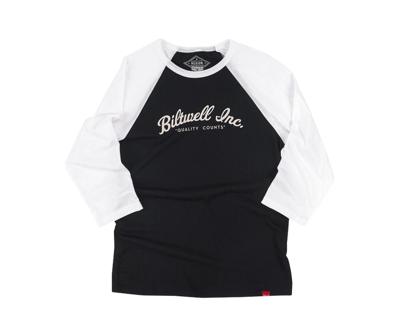Biltwell OG Script Raglan - Black/White - Ton-Up New Zealand - Motorcycle Helmets, Clothing & Accessories