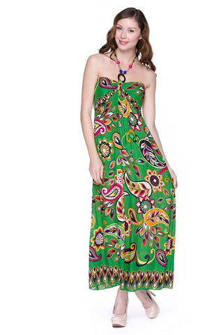 Green Paisley Luau Maxi Halter Dress