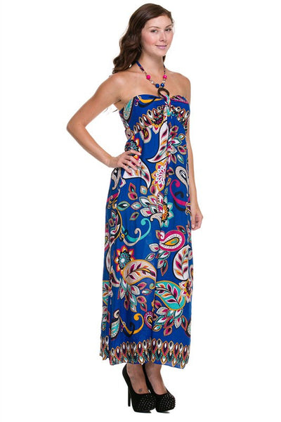 Royal Blue Paisley Luau Maxi Halter Dress