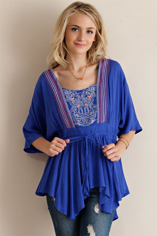 Royal Blue Embroidered Ruffled Kimono Top w/ Cutout Back
