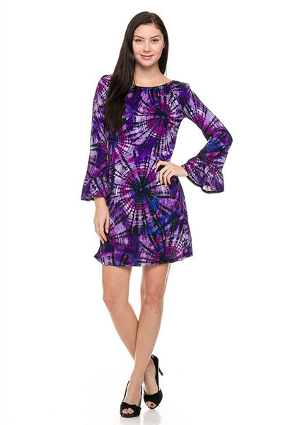 Flirty Deep Purple Tie Dye Dress