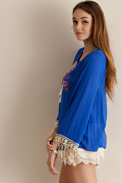 Royal Blue Embroidered Peasant Top w/ Fringe & Tassels