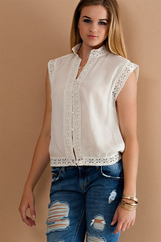 Lovely in Lace Button Down Top