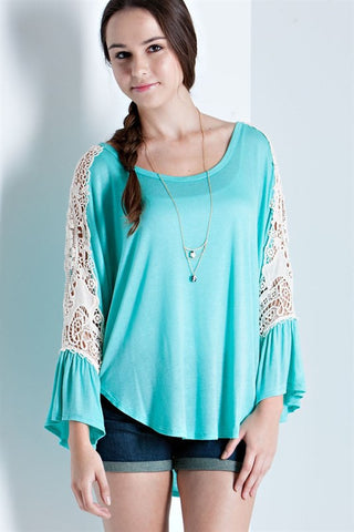 Jade Cold Shoulder Lace Embellished Bell Sleeve Hi-Lo Top
