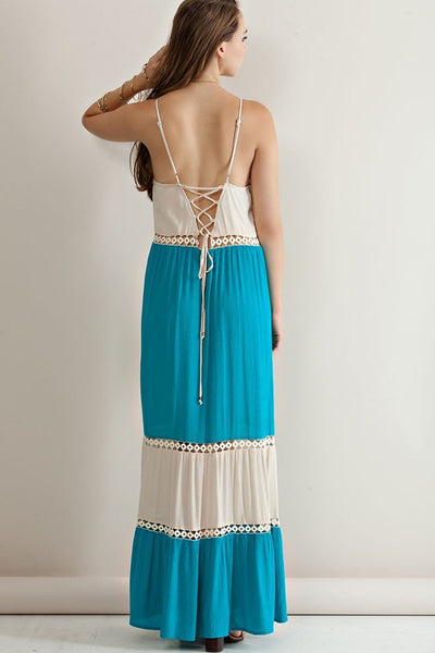 Turquoise & Ivory Color Block Lace Up Back Sun Dress