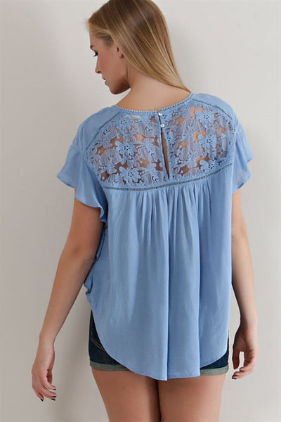 Light Denim Ruffled Sleeve Lace Top