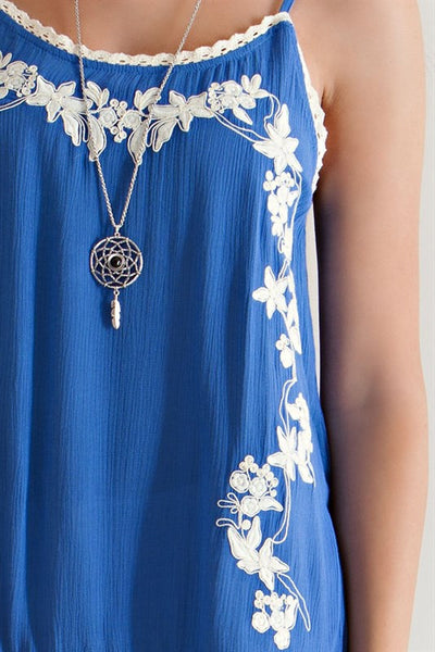 Royal Blue Embroidered Floral Fringed Tank Top