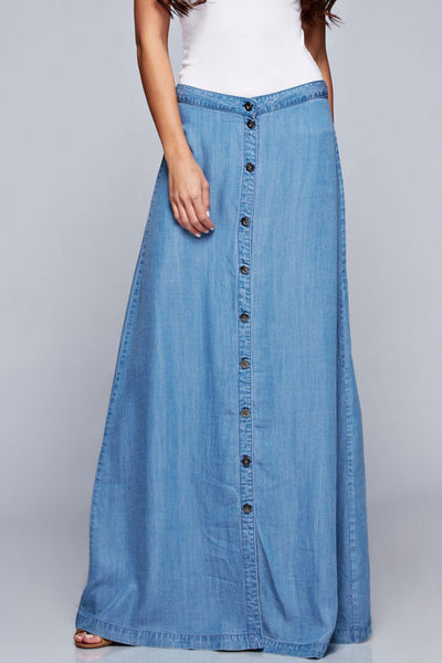 Sweet & Sassy Blue Denim A-Line Maxi Skirt