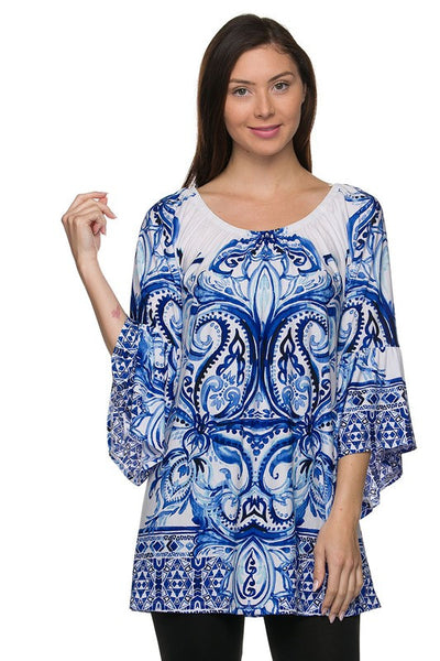Vintage Inspired Blue & White Print Tunic Top