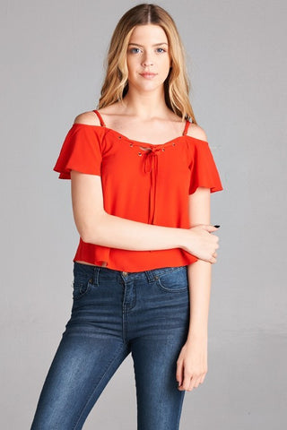 "Vermillion Red Cold Shoulder ""Bardot"" Crop Top"