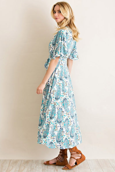Full & Flowing Turquoise & White Paisley Wrap Dress