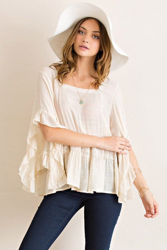 Festival Gauze Boat Neck Peasant Ruffled Top