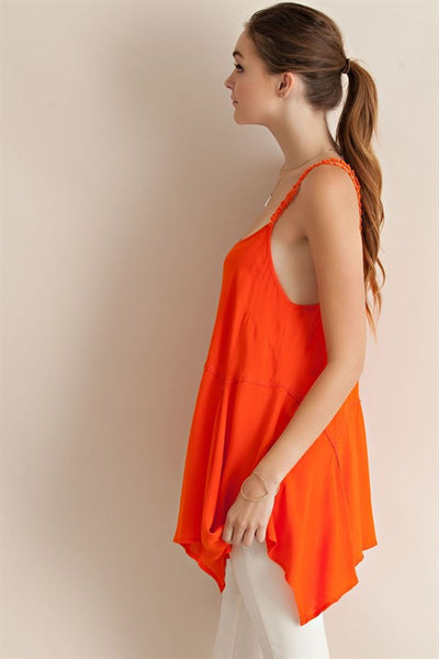 """Sun Kissed"" Bright Orange Handkerchief Hem Tank Entro Top"