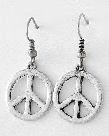 Burnished Silver Open Peace Symbol Earrings