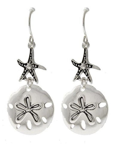 Beach Lovers Sand Dollar Starfish Earrings