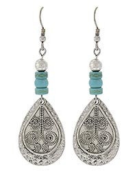 Las Cruces Silver & Turquoise Stone Hammered Filigree Earrings