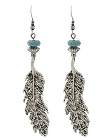 Sonoran Silver & Turquoise Feather Earrings