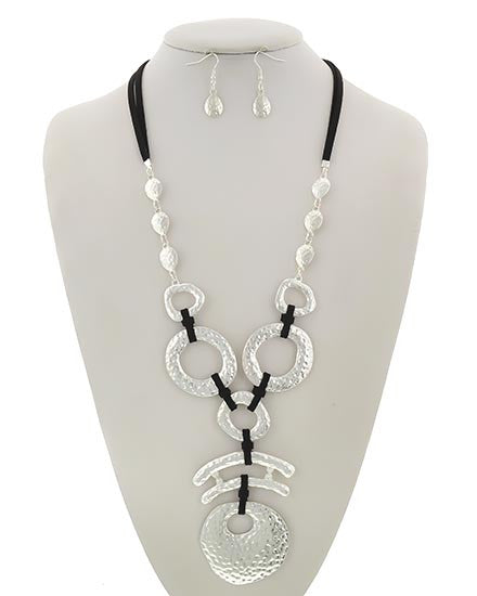 Black Suede & Hammered Silver Long Tribal Necklace  & Earring Set