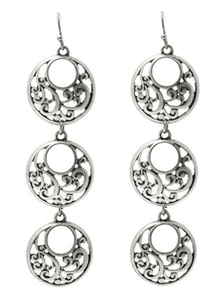 """Tower of Three"" Open Filigree Earrings"