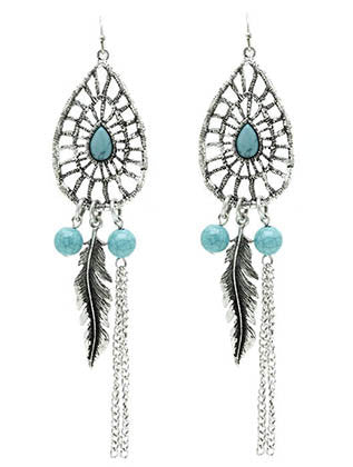Silver Teardrop Ethnic Feather & Chain Fringe Beaded Earrings