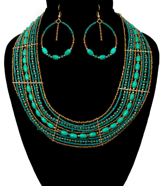 OODLES of Beads Layered Tribal Chic Bib Necklace & Earring Set