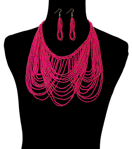 """Oodles of Beads"" Bohemian Goddess Bib Necklace & Earring Set"