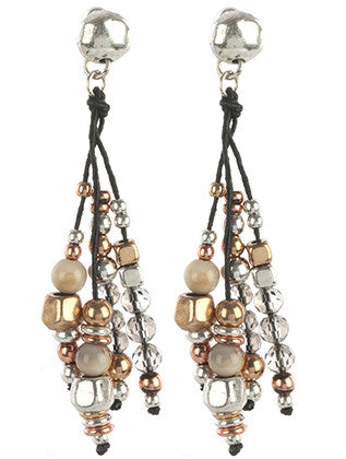Tri-Tone  Beaded Fringe Earrings