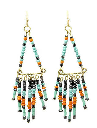 Native Tribal Western Beaded Fringe Earrings