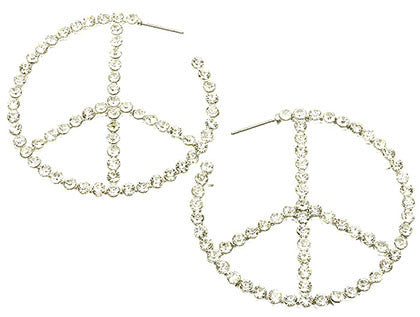 """Peace Out"" Silver Rhinestone Peace Symbol Hoop Earrings"