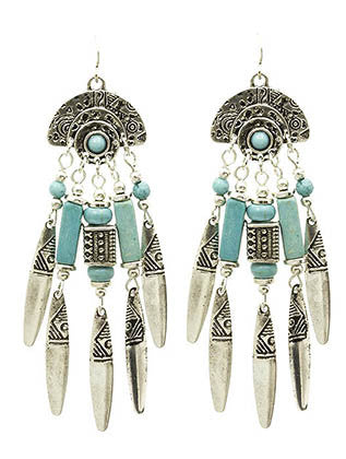 """Santa Fe"" Cowgirl Turquoise Fringe Earrings"