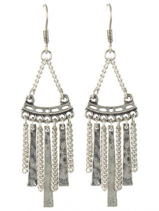 Ribbons & Chains Fringe Dangle Earrings