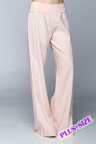 Cool & Comfy Fold Over Linen Pants Plus