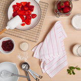 "13 Red Stripes Glass Towels - 16"" x 27"" Thin Cotton Kitchen Towels - Dish Towels in White with red stripes - Especially designed to dry with no streaks or spots for Glasses, Flutes, fine china"